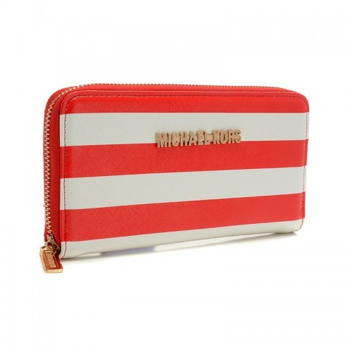 Michael Kors Jet Set Striped Zip Small Red white Wallets