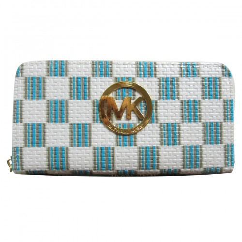 Michael Kors Knitted Logo Large White Blue Wallets