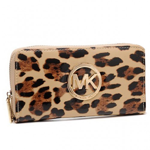 Michael Kors Leopard Continental Large Brown 005 Wallets