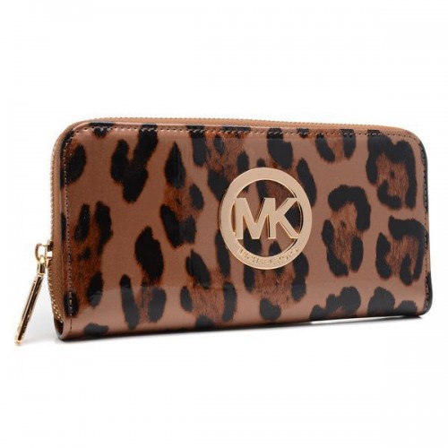 Michael Kors Leopard Continental Large Brown Wallets