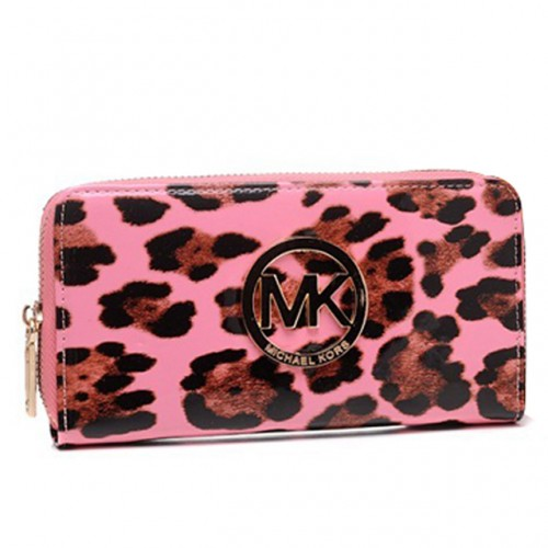 Michael Kors Leopard Continental Large Pink 003 Wallets