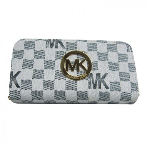 Michael Kors Logo Continental Large White Grey Wallets